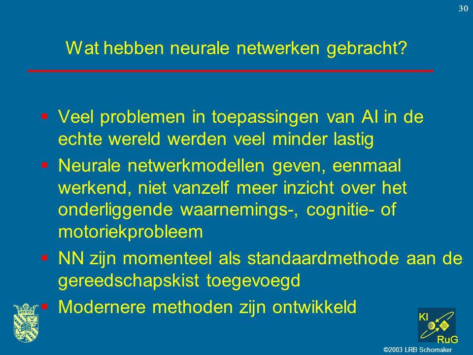 KI RuG ©2003 LRB Schomaker 30 Wat hebben neurale netwerken gebracht.