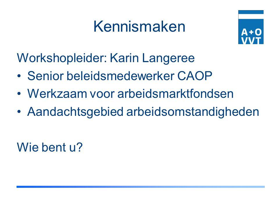 Kennismaken Workshopleider: Karin Langeree Senior beleidsmedewerker CAOP Werkzaam voor arbeidsmarktfondsen Aandachtsgebied arbeidsomstandigheden Wie b