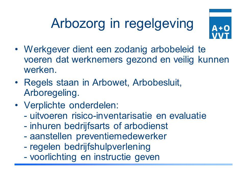Arbozorg in regelgeving Werkgever dient een zodanig arbobeleid te voeren dat werknemers gezond en veilig kunnen werken. Regels staan in Arbowet, Arbob