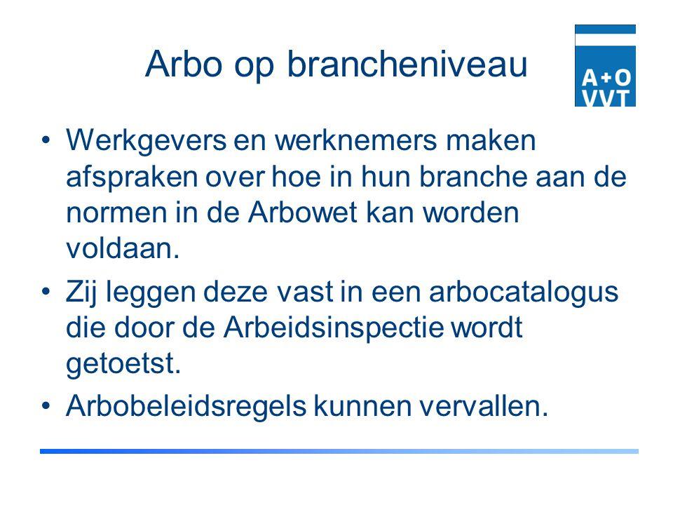 Arbo op brancheniveau Werkgevers en werknemers maken afspraken over hoe in hun branche aan de normen in de Arbowet kan worden voldaan. Zij leggen deze