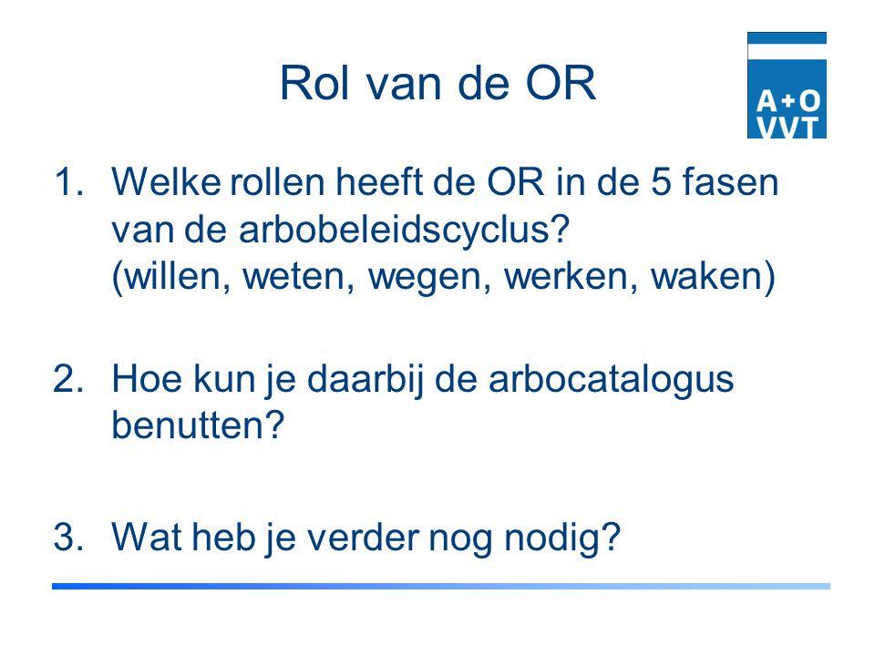 Rol van de OR 1.Welke rollen heeft de OR in de 5 fasen van de arbobeleidscyclus? (willen, weten, wegen, werken, waken) 2.Hoe kun je daarbij de arbocat