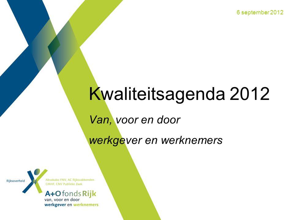 Kwaliteitsagenda 2012 Van, voor en door werkgever en werknemers 6 september 2012