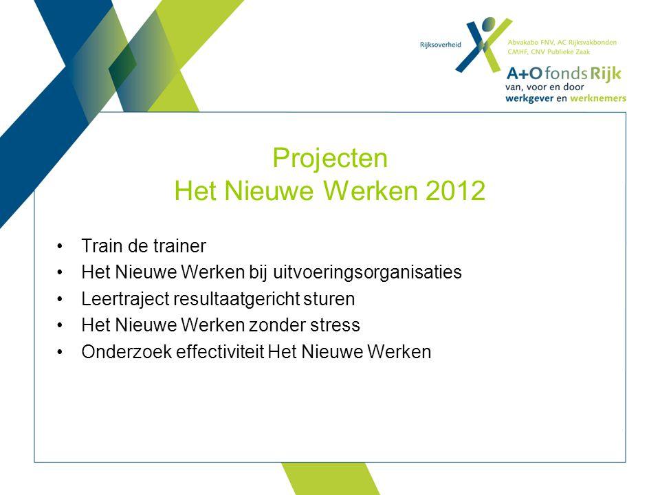 Projecten Het Nieuwe Werken 2012 Train de trainer Het Nieuwe Werken bij uitvoeringsorganisaties Leertraject resultaatgericht sturen Het Nieuwe Werken