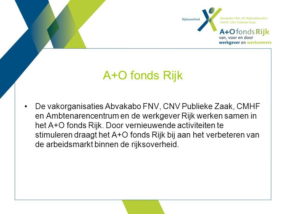 A+O fonds Rijk De vakorganisaties Abvakabo FNV, CNV Publieke Zaak, CMHF en Ambtenarencentrum en de werkgever Rijk werken samen in het A+O fonds Rijk.