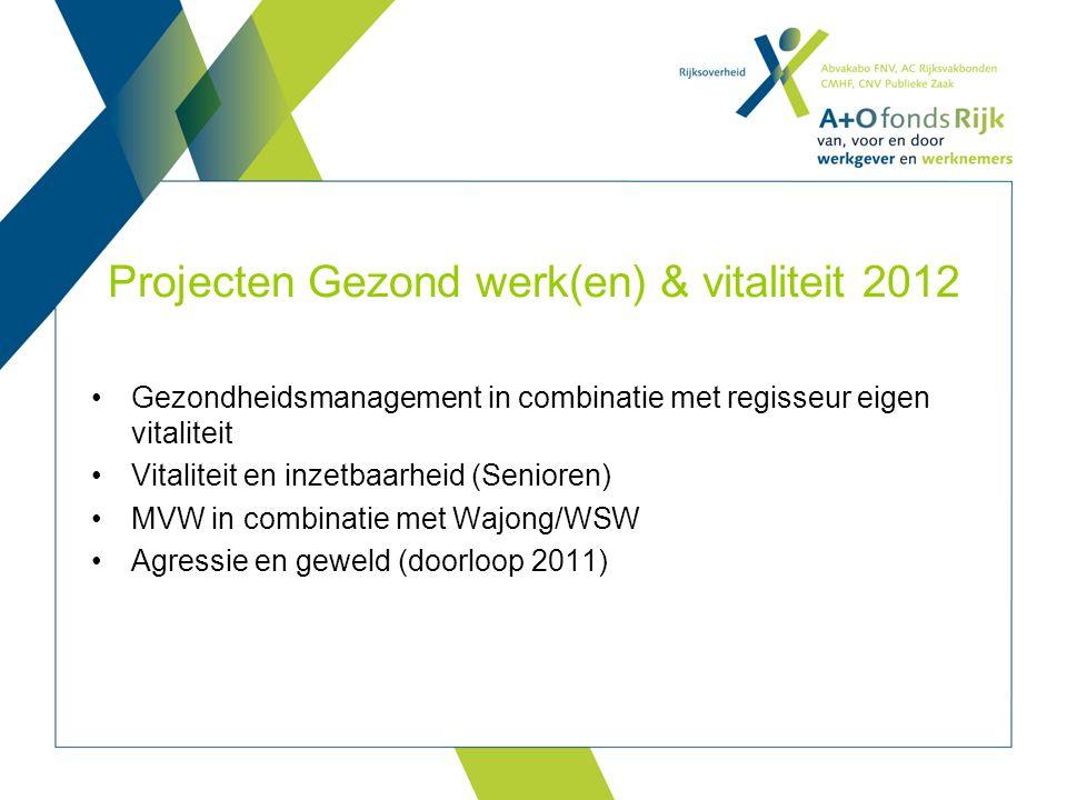 Projecten Gezond werk(en) & vitaliteit 2012 Gezondheidsmanagement in combinatie met regisseur eigen vitaliteit Vitaliteit en inzetbaarheid (Senioren)
