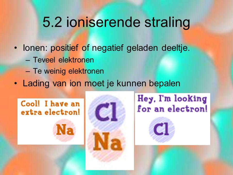 5.2 ioniserende straling Ionen: positief of negatief geladen deeltje.
