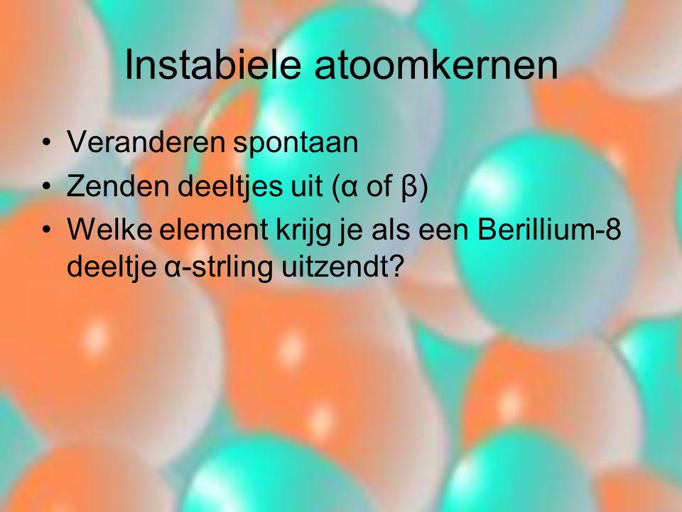 Instabiele atoomkernen Veranderen spontaan Zenden deeltjes uit (α of β) Welke element krijg je als een Berillium-8 deeltje α-strling uitzendt?