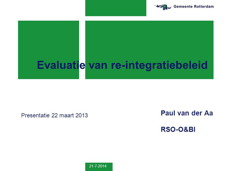 21-7-2014 2 Opbouw Opbouw presentatie  Het beleidsterrein re-integratie  Onderzoek naar re-integratiebeleid  Spanningen in evaluatie-onderzoek, 2 casussen  Slotopmerkingen