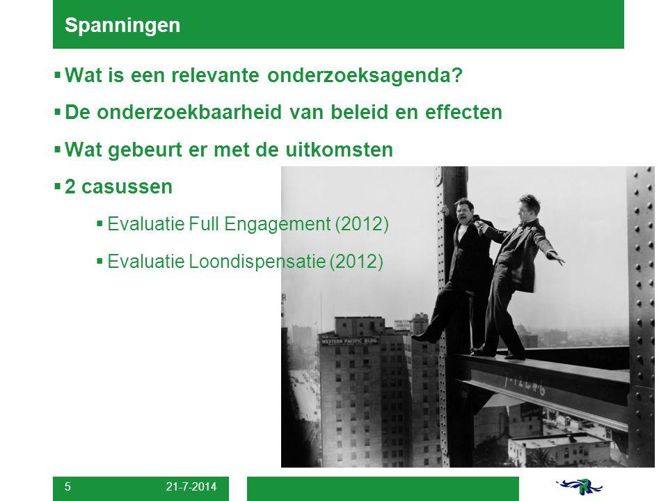 21-7-2014 5  Wat is een relevante onderzoeksagenda.