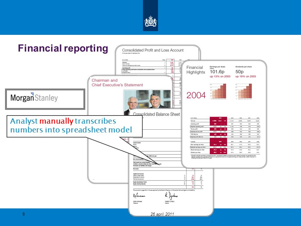 Financial reporting Analyst manually transcribes numbers into spreadsheet model 826 april 2011