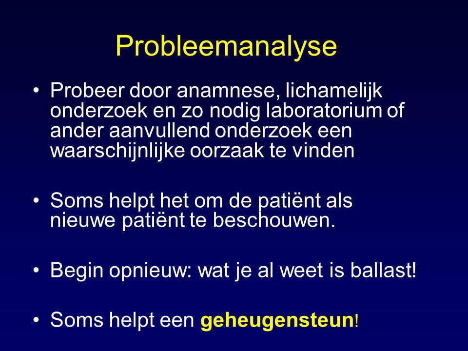 Probleemanalyse Probeer door anamnese, lichamelijk onderzoek en zo nodig laboratorium of ander aanvullend onderzoek een waarschijnlijke oorzaak te vinden Soms helpt het om de patiënt als nieuwe patiënt te beschouwen.