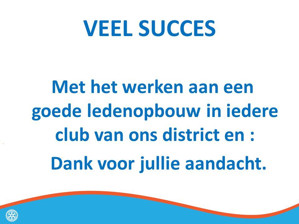 VEEL SUCCES Met het werken aan een goede ledenopbouw in iedere club van ons district en : Dank voor jullie aandacht.