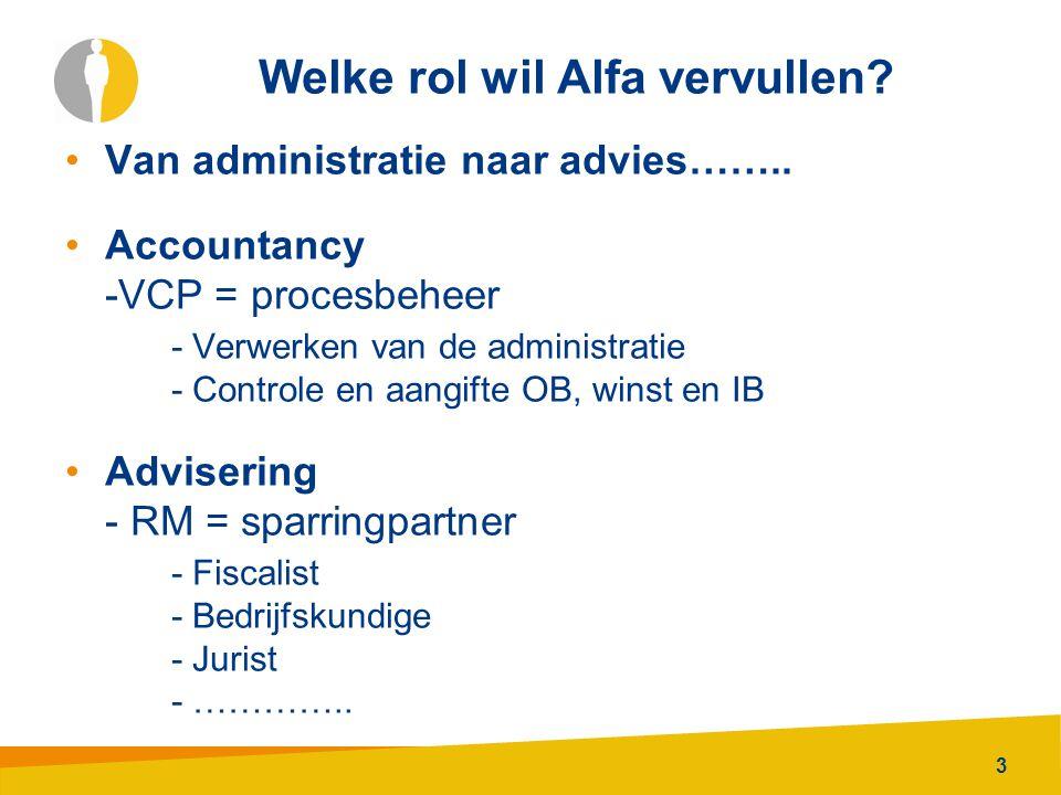 3 Welke rol wil Alfa vervullen? Van administratie naar advies…….. Accountancy -VCP = procesbeheer - Verwerken van de administratie - Controle en aangi