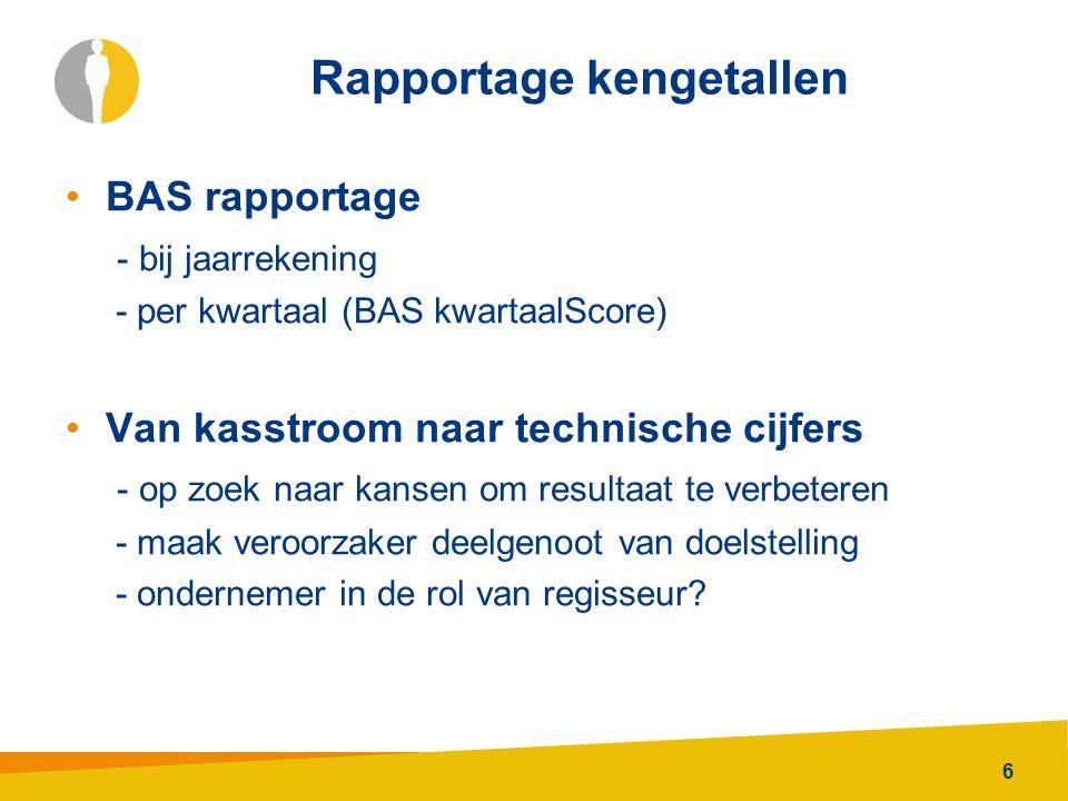 6 Rapportage kengetallen BAS rapportage - bij jaarrekening - per kwartaal (BAS kwartaalScore) Van kasstroom naar technische cijfers - op zoek naar kansen om resultaat te verbeteren - maak veroorzaker deelgenoot van doelstelling - ondernemer in de rol van regisseur?