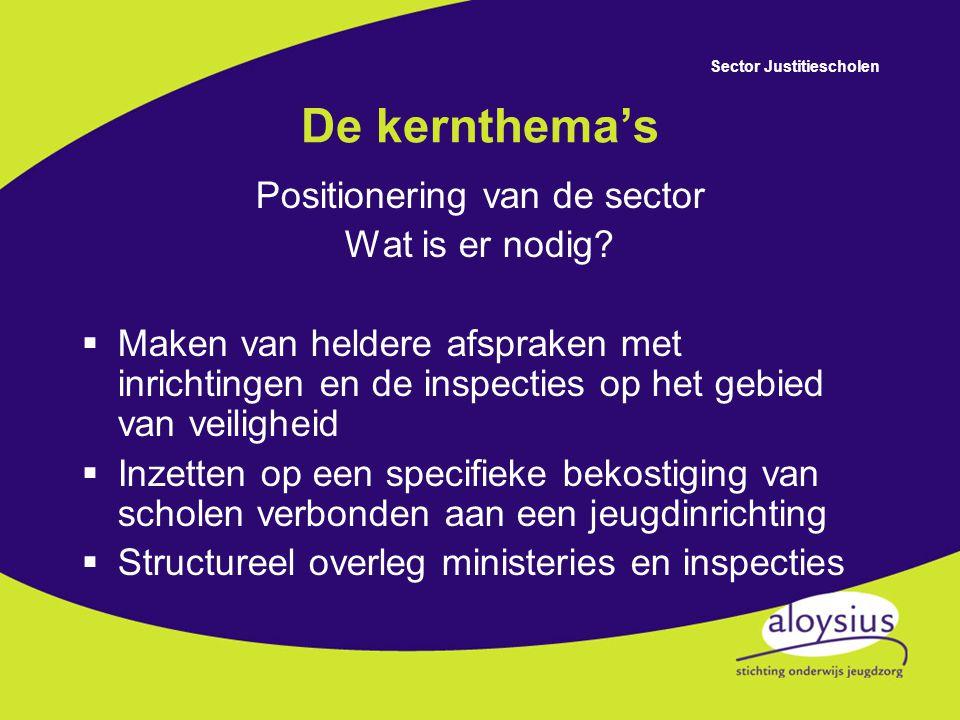 Sector Justitiescholen De kernthema's Positionering van de sector Wat is er nodig.