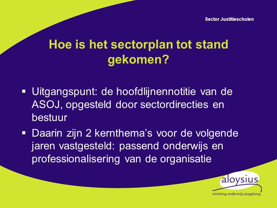 Sector Justitiescholen Kernthema's voor de komende jaren  passend onderwijs  professionalisering van de organisatie  positionering van de sector