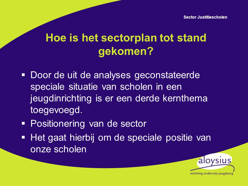 Sector Justitiescholen De kernthema's Professionalisering van de organisatie Wat is er nodig.