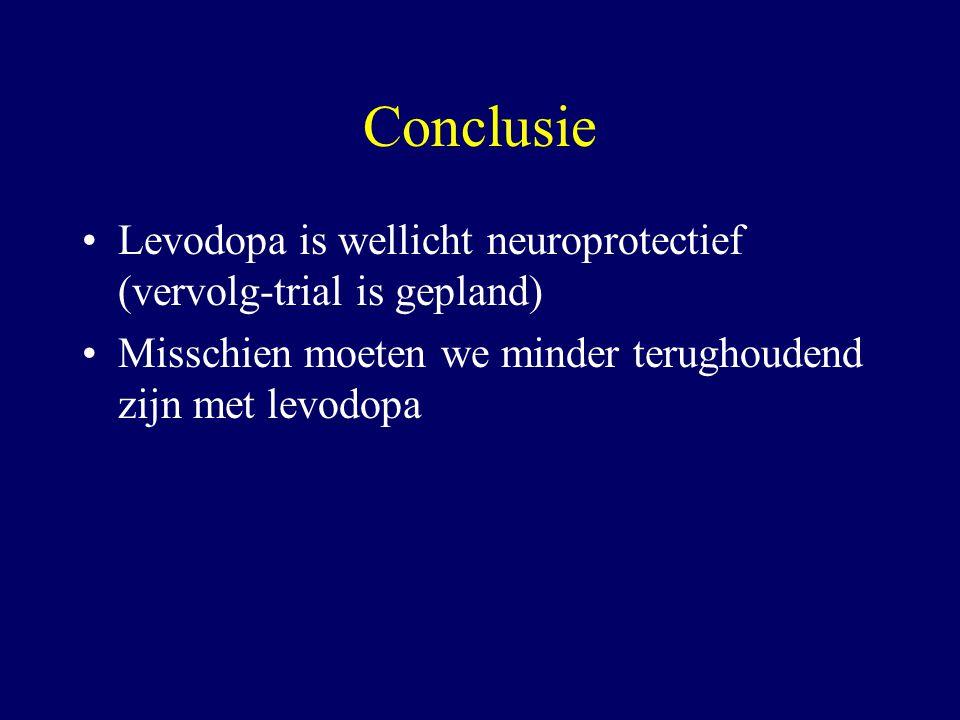 Conclusie Levodopa is wellicht neuroprotectief (vervolg-trial is gepland) Misschien moeten we minder terughoudend zijn met levodopa