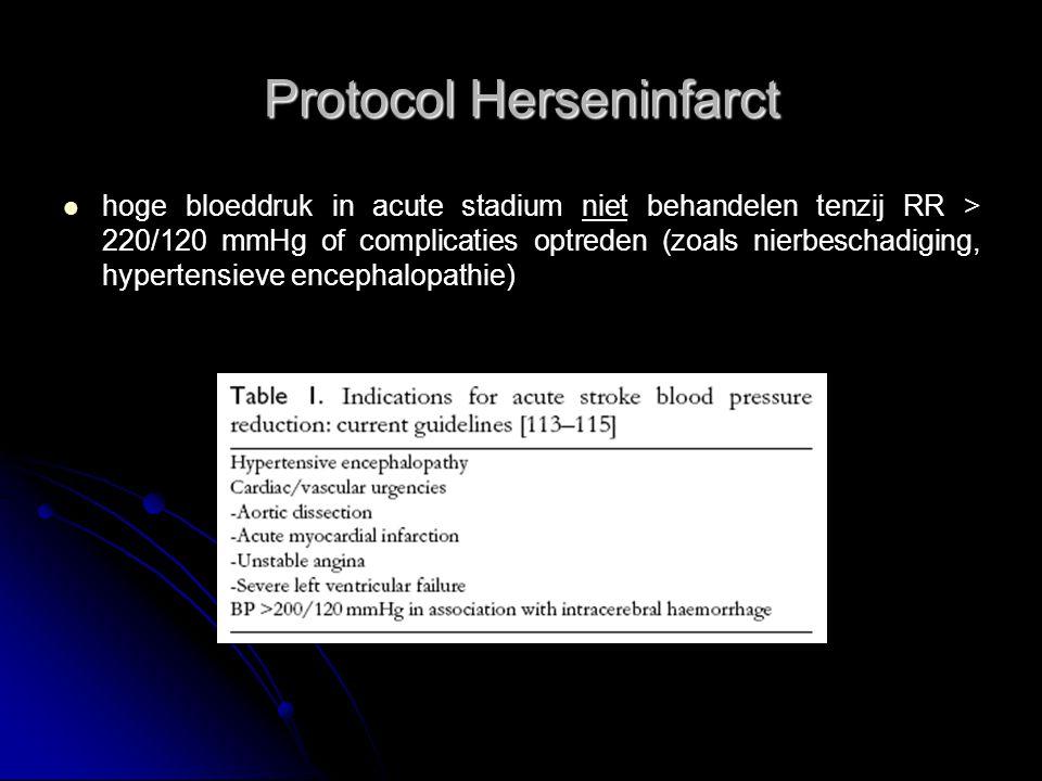 Protocol Herseninfarct hoge bloeddruk in acute stadium niet behandelen tenzij RR > 220/120 mmHg of complicaties optreden (zoals nierbeschadiging, hypertensieve encephalopathie)