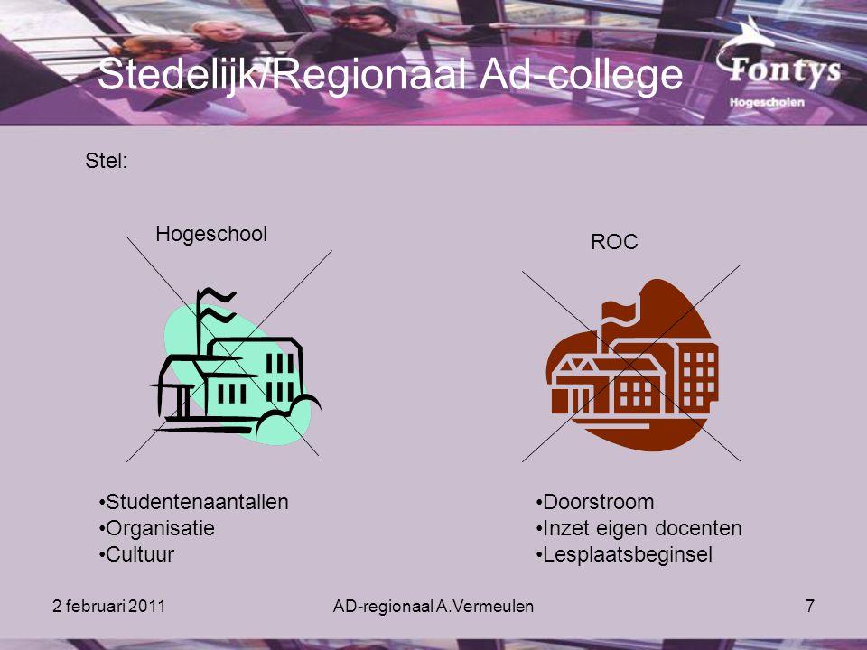 2 februari 2011AD-regionaal A.Vermeulen7 Stedelijk/Regionaal Ad-college Stel: Hogeschool ROC Studentenaantallen Organisatie Cultuur Doorstroom Inzet eigen docenten Lesplaatsbeginsel
