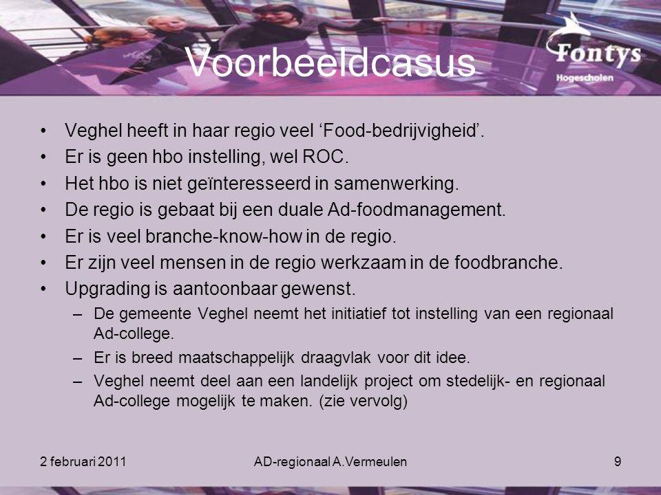 2 februari 2011AD-regionaal A.Vermeulen9 Voorbeeldcasus Veghel heeft in haar regio veel 'Food-bedrijvigheid'.