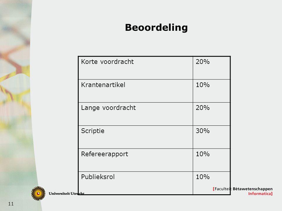 11 Beoordeling Korte voordracht20% Krantenartikel10% Lange voordracht20% Scriptie30% Refereerapport10% Publieksrol10%