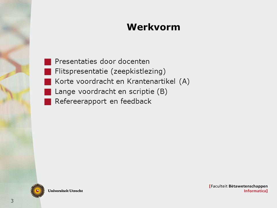 3 Werkvorm  Presentaties door docenten  Flitspresentatie (zeepkistlezing)  Korte voordracht en Krantenartikel (A)  Lange voordracht en scriptie (B)  Refereerapport en feedback