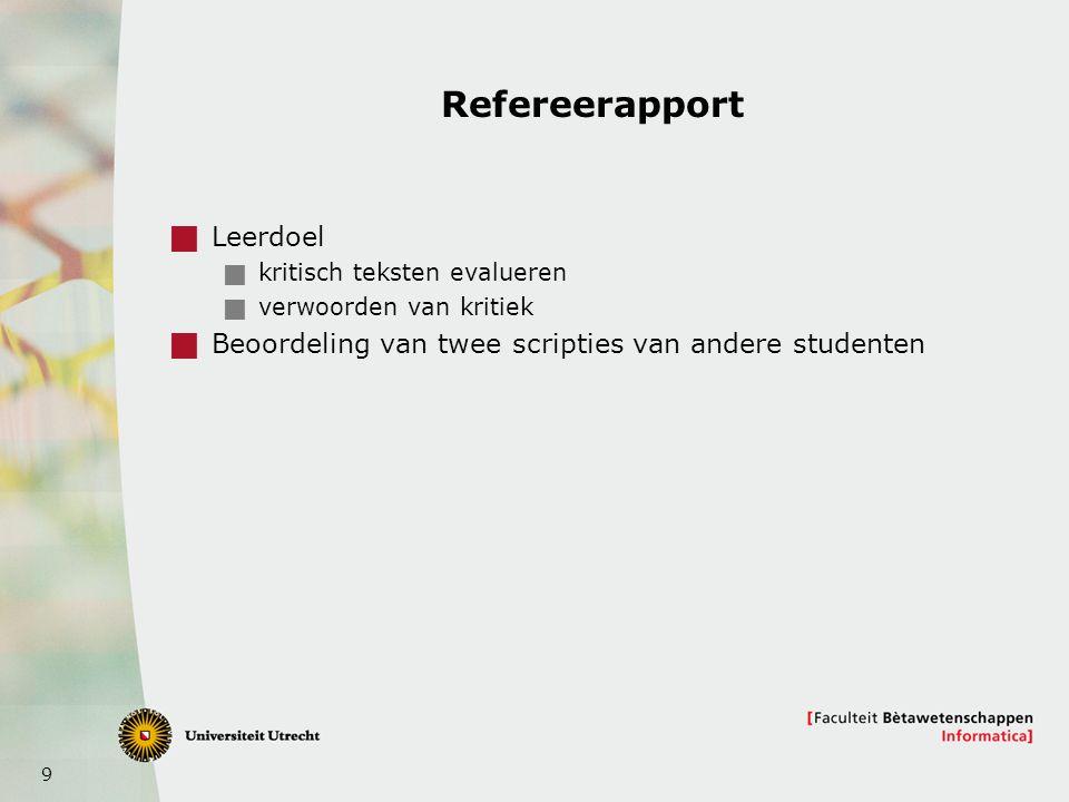 9 Refereerapport  Leerdoel  kritisch teksten evalueren  verwoorden van kritiek  Beoordeling van twee scripties van andere studenten