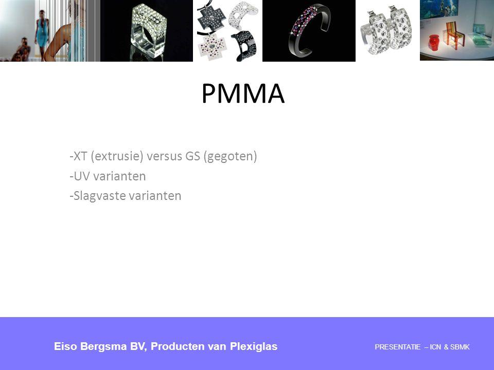 PMMA -XT (extrusie) versus GS (gegoten) -UV varianten -Slagvaste varianten PRESENTATIE 28-05-2008 – ICN & SBMK Eiso Bergsma BV, Producten van Plexigla