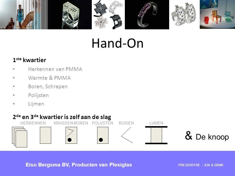 Hand-On PRESENTATIE 28-05-2008 – ICN & SBMK Eiso Bergsma BV, Producten van Plexiglas 1 ste kwartier Herkennen van PMMA Warmte & PMMA Boren, Schrapen P