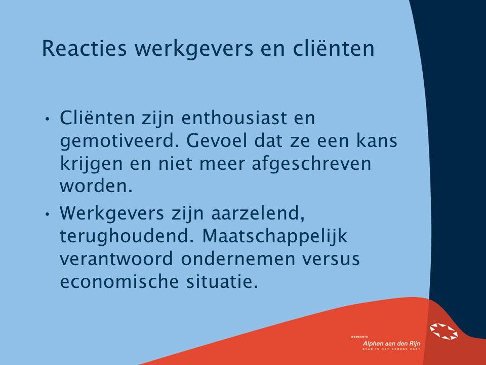 Reacties werkgevers en cliënten Cliënten zijn enthousiast en gemotiveerd.