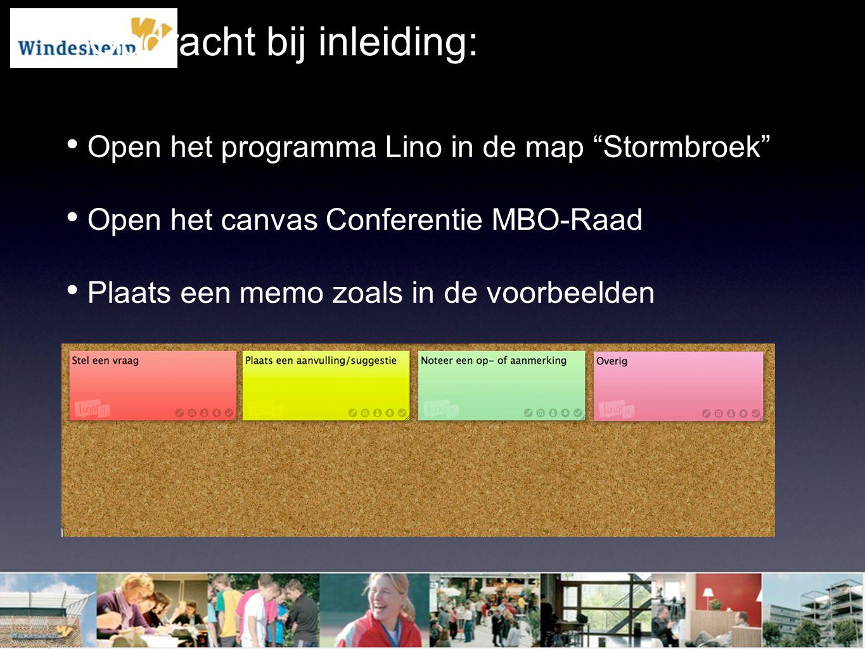 """Opdracht bij inleiding: Open het programma Lino in de map """"Stormbroek"""" Open het canvas Conferentie MBO-Raad Plaats een memo zoals in de voorbeelden"""