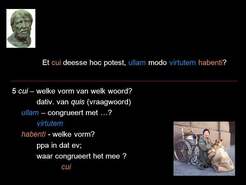 Et cui deesse hoc potest, ullam modo virtutem habenti? 5 cui – welke vorm van welk woord? dativ. van quis (vraagwoord) ullam – congrueert met …? virtu