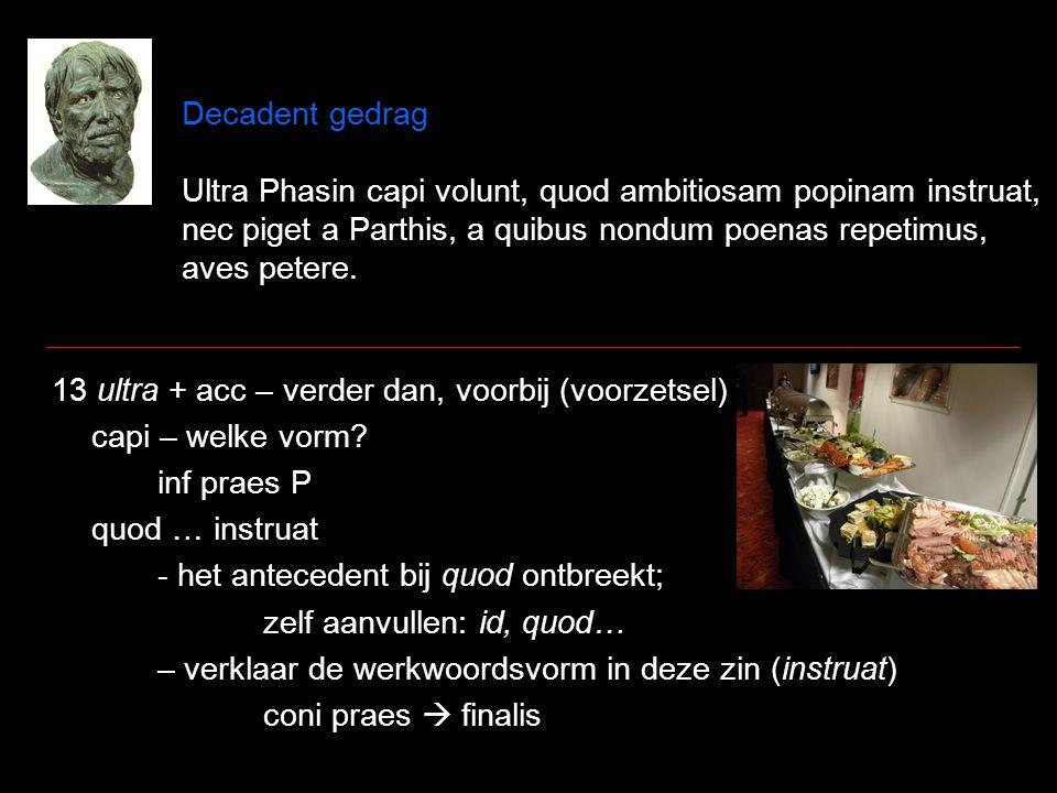Decadent gedrag Ultra Phasin capi volunt, quod ambitiosam popinam instruat, nec piget a Parthis, a quibus nondum poenas repetimus, aves petere. 13 ult