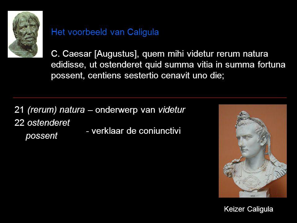 Het voorbeeld van Caligula C. Caesar [Augustus], quem mihi videtur rerum natura edidisse, ut ostenderet quid summa vitia in summa fortuna possent, cen