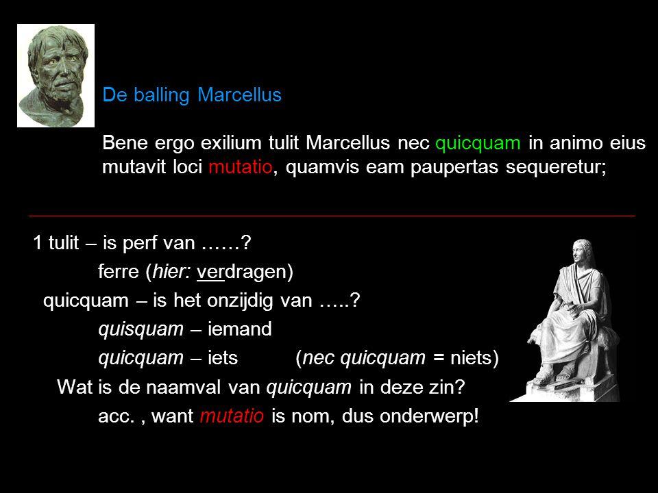 De balling Marcellus Bene ergo exilium tulit Marcellus nec quicquam in animo eius mutavit loci mutatio, quamvis eam paupertas sequeretur; Marcellus heeft zijn ballingschap dus goed verdragen en de verandering van plaats heeft niets in zijn geest veranderd, hoewel armoede deze volgde; 1 Marcellus – voorbeeld van een man die ook in ballingschap moest, net als Seneca nu.
