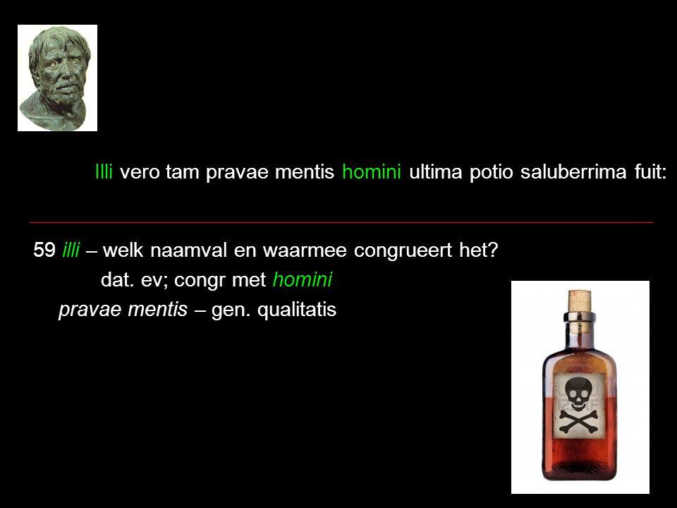 Illi vero tam pravae mentis homini ultima potio saluberrima fuit: 59 illi – welk naamval en waarmee congrueert het.