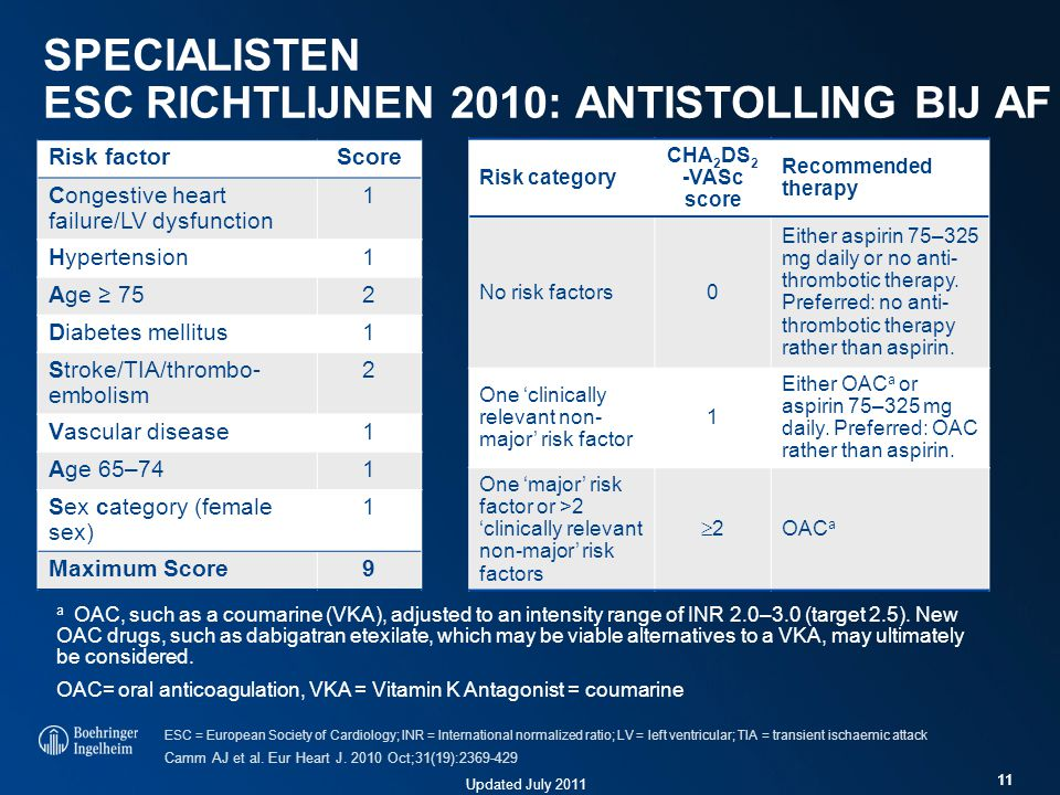 Updated July 2011 11 SPECIALISTEN ESC RICHTLIJNEN 2010: ANTISTOLLING BIJ AF Risk category CHA 2 DS 2 -VASc score Recommended therapy No risk factors0