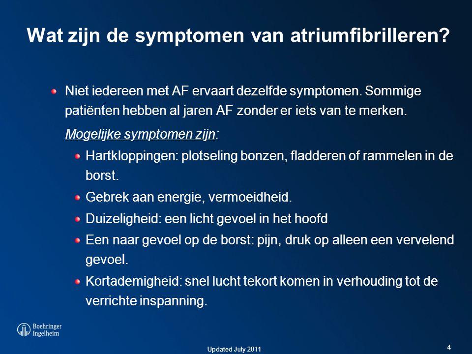 Updated July 2011 Wat zijn de symptomen van atriumfibrilleren? Niet iedereen met AF ervaart dezelfde symptomen. Sommige patiënten hebben al jaren AF z