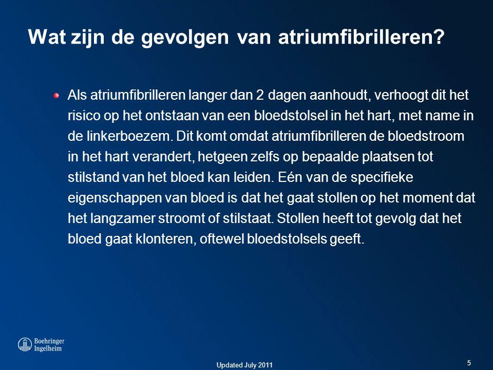 Updated July 2011 Wat zijn de gevolgen van atriumfibrilleren.