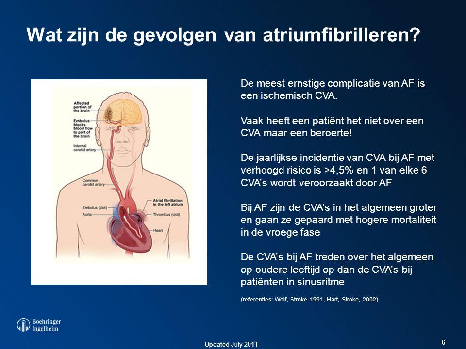 Updated July 2011 Wat zijn de gevolgen van atriumfibrilleren? 6 De meest ernstige complicatie van AF is een ischemisch CVA. Vaak heeft een patiënt het