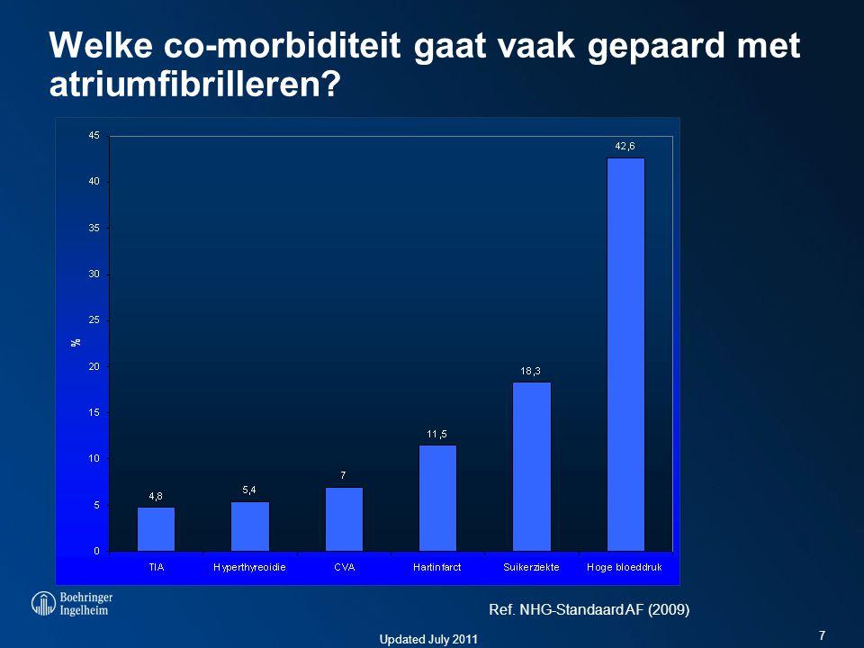 Updated July 2011 Welke co-morbiditeit gaat vaak gepaard met atriumfibrilleren? 7 Ref. NHG-Standaard AF (2009)