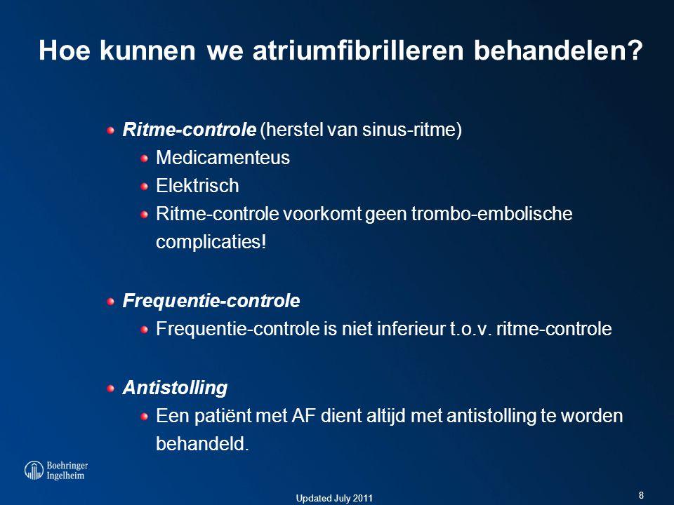 Updated July 2011 Hoe kunnen we atriumfibrilleren behandelen? Ritme-controle (herstel van sinus-ritme) Medicamenteus Elektrisch Ritme-controle voorkom