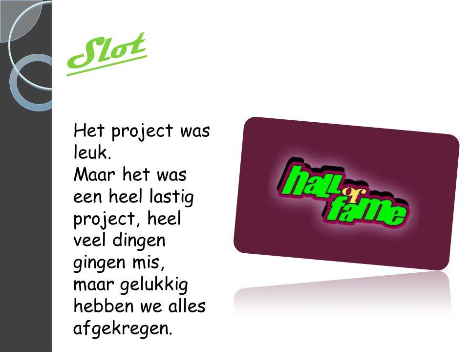 Slot Het project was leuk.
