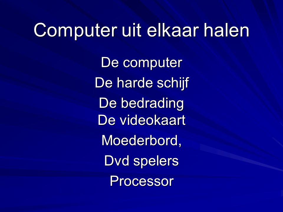 Computer uit elkaar halen De computer De harde schijf De bedrading De videokaart Moederbord, Dvd spelers Processor