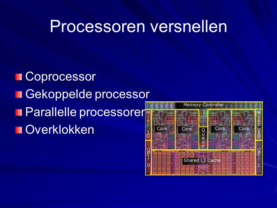Processoren versnellen Coprocessor Gekoppelde processor Parallelle processoren Overklokken