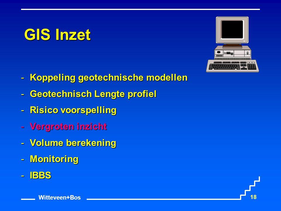 Witteveen+Bos 18 GIS Inzet Koppeling geotechnische modellen Geotechnisch Lengte profiel Risico voorspelling Vergroten inzicht Volume berekening 