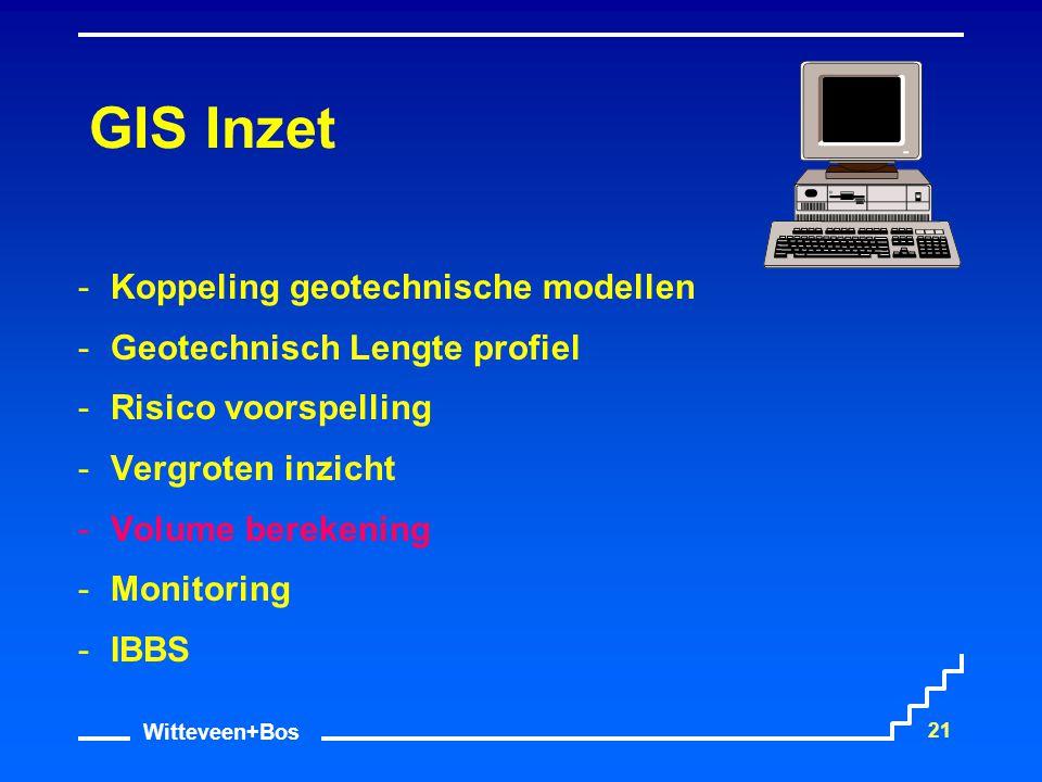 Witteveen+Bos 21 GIS Inzet Koppeling geotechnische modellen Geotechnisch Lengte profiel Risico voorspelling Vergroten inzicht Volume berekening 
