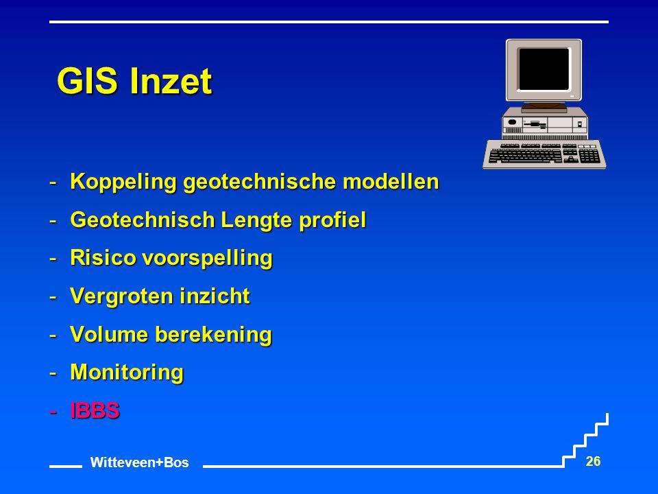 Witteveen+Bos 26 GIS Inzet Koppeling geotechnische modellen Geotechnisch Lengte profiel Risico voorspelling Vergroten inzicht Volume berekening 