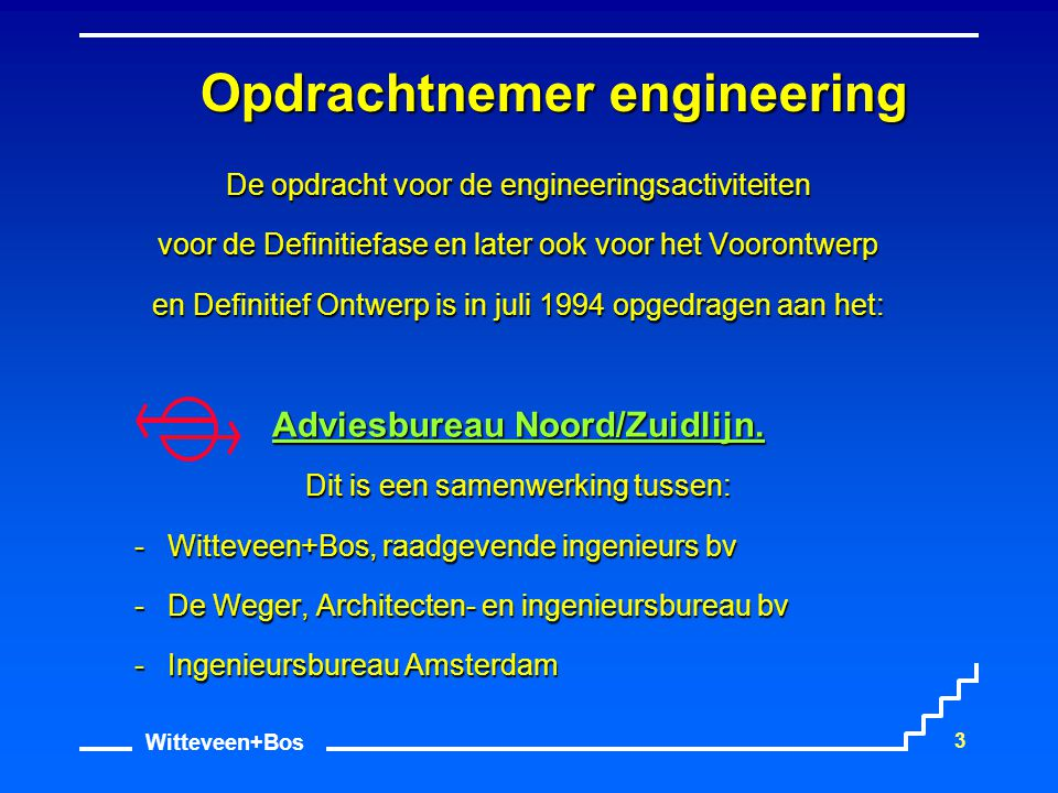 Witteveen+Bos 3 Opdrachtnemer engineering De opdracht voor de engineeringsactiviteiten voor de Definitiefase en later ook voor het Voorontwerp en Defi
